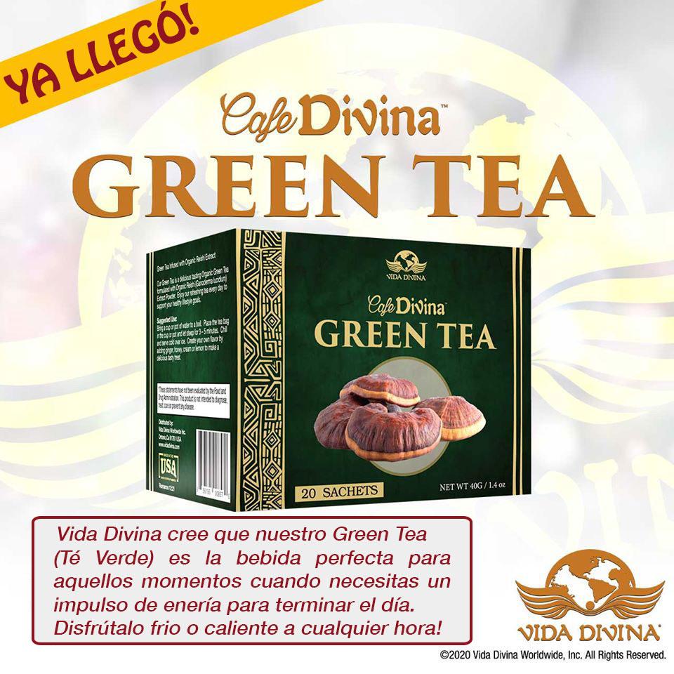 Vida Divina - Green Tea - un nuevo producto de Vida Divina. Té Verde que se puede tomar frio o caliente.