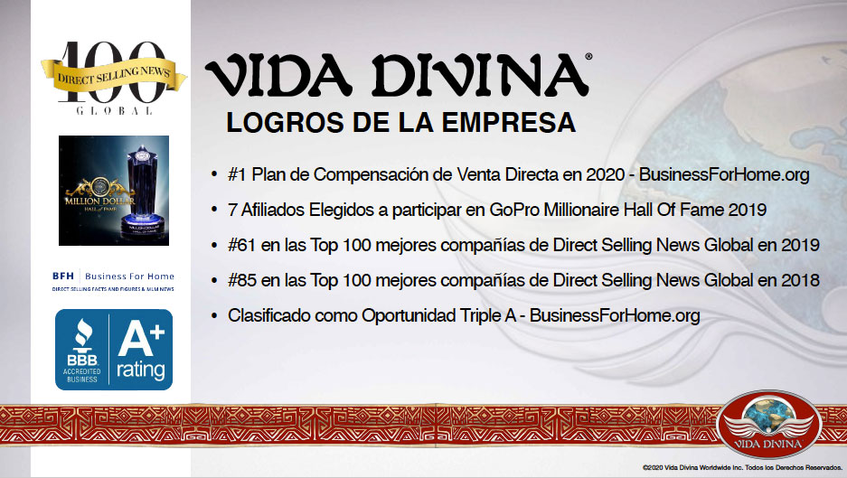 Presentación de negocio - plan de compensación de Vida Divina - 6