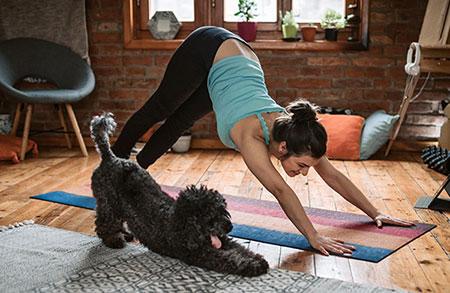 Mujer haciendo ejercicio yoga con su perro durante la cuarentena covid-19
