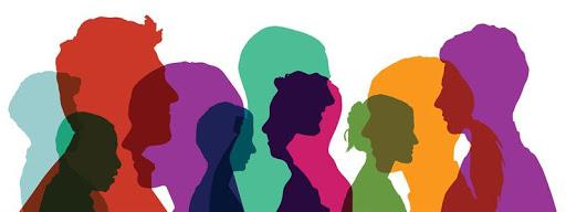 Silohuetas de personas de color cuidando la salud mental durante la cuarentena de covid-19